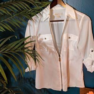 Michael Kors white zipper up top!